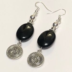 Black Onyx Aztec Medallion Earrings